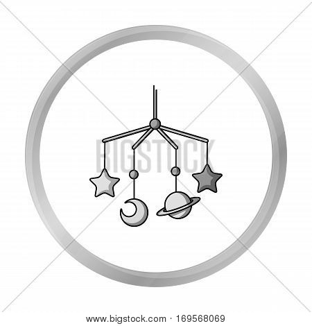 Baby crib icon in monochrome style isolated on white background. Baby born symbol vector illustration.