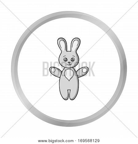 Rabbit toy icon in monochrome style isolated on white background. Baby born symbol vector illustration.
