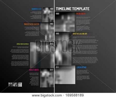 Vector Infographic Company Milestones Timeline Template with big rectangle photo placeholders and shadow effects - vertical dark version