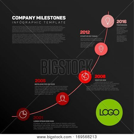 Vector Infographic timeline report template with the biggest milestones, icons, years and color buttons. Business company overview profile - red dark version.