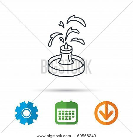 Fountain icon. Water in park sign. Architecture symbol. Calendar, cogwheel and download arrow signs. Colored flat web icons. Vector