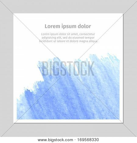Watercolor splashes, blot, stains, spotds on wallpaper card. Vector illustration of hand drawn paint with text.