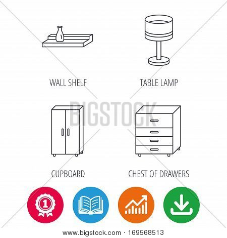 Table lamp, cupboard and wall shelf icons. Chest of drawers linear sign. Award medal, growth chart and opened book web icons. Download arrow. Vector