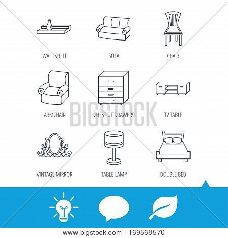 Double bed, table lamp and armchair icons. Chair, lamp and vintage mirror linear signs. Wall shelf, sofa and chest of drawers furniture icons. Light bulb, speech bubble and leaf web icons. Vector