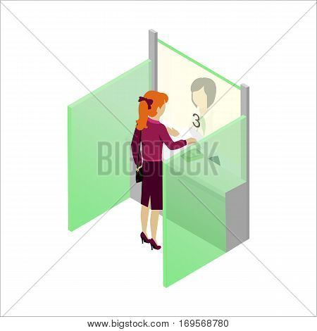 Cash register in bank vector in isometric projection. Read-head woman gives money cashier in bank. Illustration for business, finance companies ad, apps design, icons, infographics.