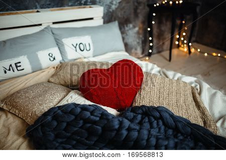 Romantic Interior Loft-style For Valentine's Day With Bed, Pillows And Heart