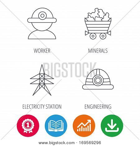 Worker, minerals and engineering helm icons. Electricity station linear sign. Award medal, growth chart and opened book web icons. Download arrow. Vector