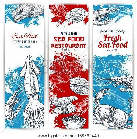 Seafood banners set of fish and fishery catch food. Fresh lobster and crab, salmon grilled steak, shrimp and squid with red caviar, sushi rolls and sashimi. Vector sketch design for seafood restaurant, fishery market store or japanese sushi bar
