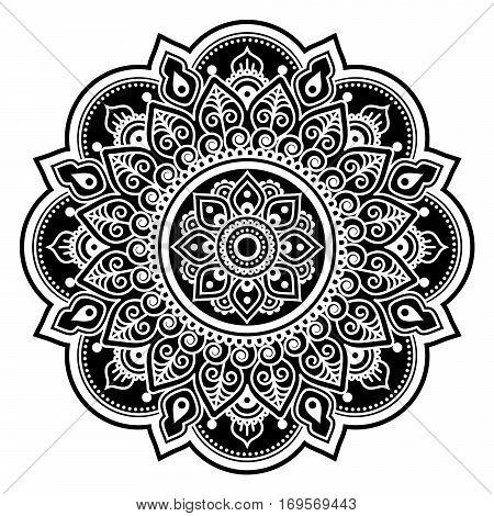 Mandala design, Mehndi, Indian Henna tattoo round pattern or background