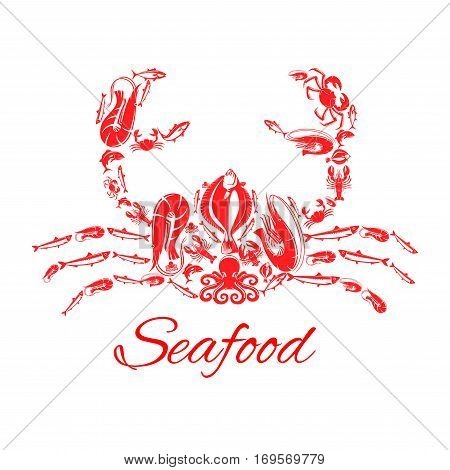 Lobster or crab poster designed of seafood and fish food shrimp, flounder, tuna and salmon or trout, squid or crayfish, herring and octopus. Vector design for restaurant or fish food industry, market shop or oriental cuisine