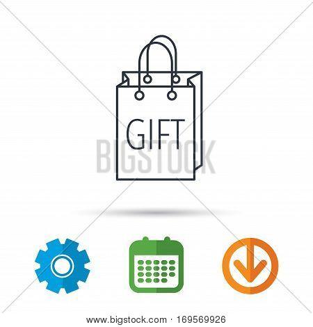 Gift shopping bag icon. Present handbag sign. Calendar, cogwheel and download arrow signs. Colored flat web icons. Vector