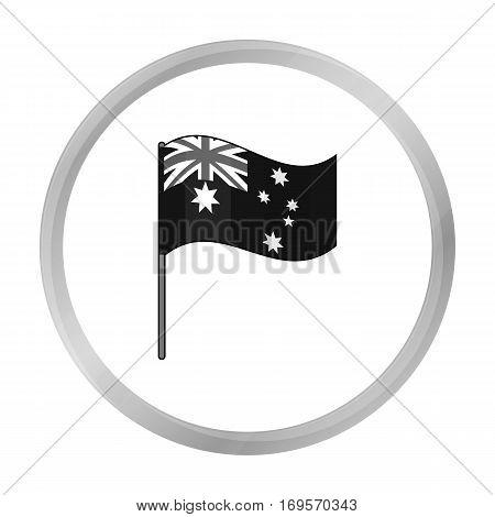 Australian flag icon in monochrome design isolated on white background. Australia symbol stock vector illustration.