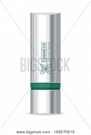 Cosmetic product vector illustration. Flat design. Shining metallic container for mascara and lipstick. For woman beauty concepts, cosmetic brand ad. Natural series of cosmetics. Isolated on white