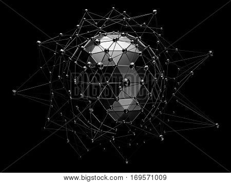 Abstract 3d rendering of low poly black sphere with chaotic structure. Sci-fi background with wireframe and globe in empty space. Futuristic shape.