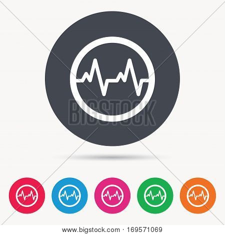 Heartbeat icon. Cardiology symbol. Medical pressure sign. Colored circle buttons with flat web icon. Vector