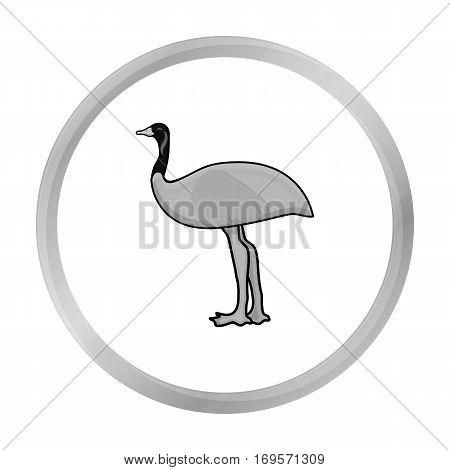 Emu icon in monochrome design isolated on white background. Australia symbol stock vector illustration.
