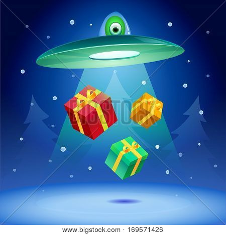 New Year Holiday. Flying saucer kidnap gifts.