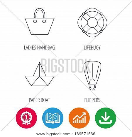 Paper boat, flippers and lifebuoy icons. Women handbag linear sign. Award medal, growth chart and opened book web icons. Download arrow. Vector