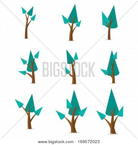Set of spruce tree vector flat collection stock