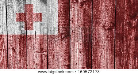 Flag Of Tonga On Weathered Wood