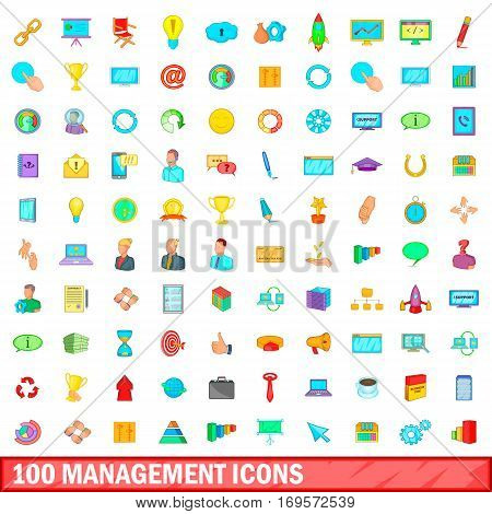 100 management icons set in cartoon style for any design vector illustration