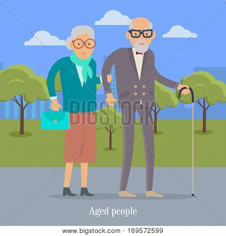 Aged people walking in park. Happy senior man and woman together. Middle aged couple. Older man and woman having fun together. Senility old aged senium in flat style design. Vector illustration