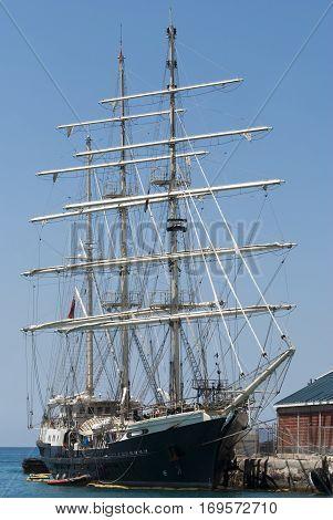The three-masted old style ship docked in Nassau (Bahamas).