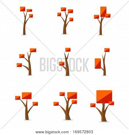 Set of orange tree vector art collection stock