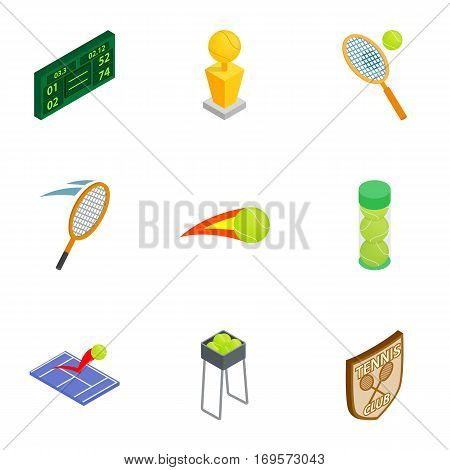 Tennis elements icons set. Isometric 3d illustration of 9 tennis elements vector icons for web