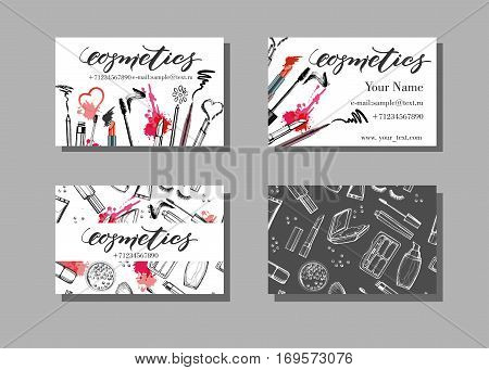Makeup artist business card. Vector template with makeup items pattern - brush pencil eyeshadow lipstick and mascara. Fashion and beauty background. Template Vector.