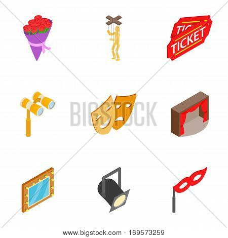 Theatre acting performance icons set. Isometric 3d illustration of 9 theatre acting performance vector icons for web
