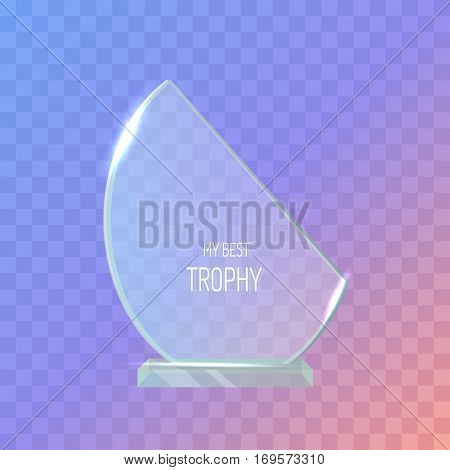 Trophy. Realistic great award. Crystal. Shiny. First place. Winning. Contemporary beautiful glass prize on clean basis. Semi-oval reward. Flat design. Vector illustration