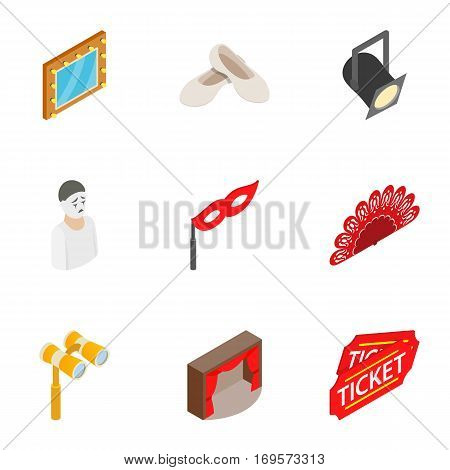 Theatre icons set. Isometric 3d illustration of 9 theatre vector icons for web