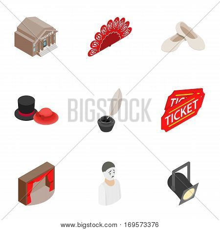 Culture and art icons set. Isometric 3d illustration of 9 culture and art vector icons for web