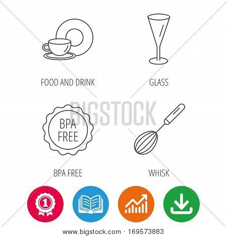 Food and drink, glass and whisk icons. BPA free linear sign. Award medal, growth chart and opened book web icons. Download arrow. Vector