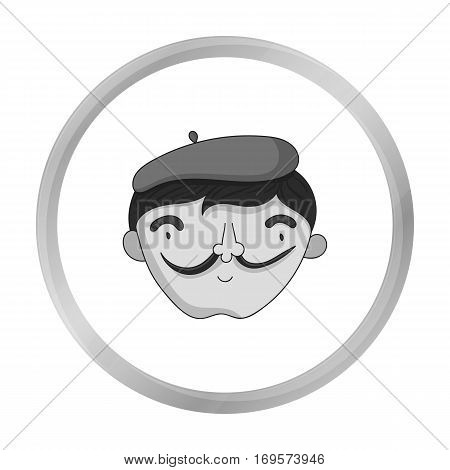 Self-portrait of artist icon in monochrome style isolated on white background. Artist and drawing symbol vector illustration.