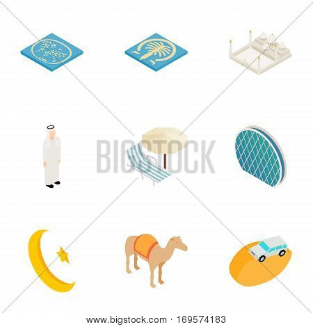 Travel to United Arab Emirates icons set. Isometric 3d illustration of 9 travel to United Arab Emirates vector icons for web