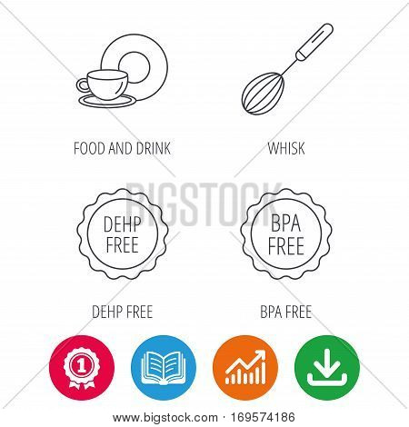 Food and drink, whisk and BPA free icons. DEHP free linear sign. Award medal, growth chart and opened book web icons. Download arrow. Vector