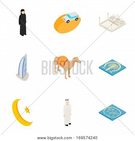 Symbols of UAE icons set. Isometric 3d illustration of 9 symbols of UAE vector icons for web