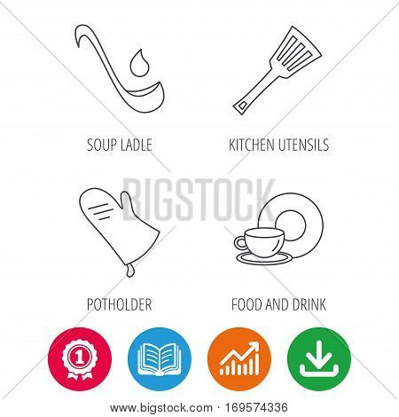 Soup ladle, potholder and kitchen utensils icons. Food and drink linear signs. Award medal, growth chart and opened book web icons. Download arrow. Vector