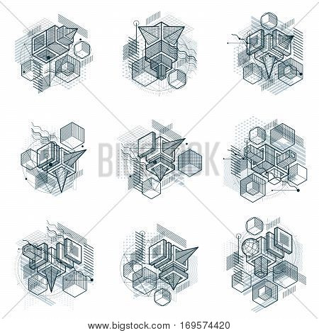 Isometric Abstract Backgrounds With Lines And Other Different Elements, Vector Abstract Templates. C