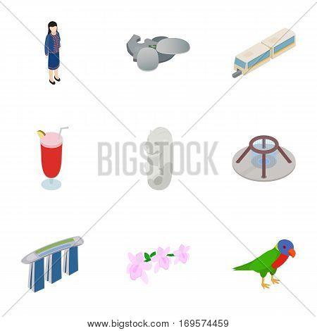 Travel to Singapore icons set. Isometric 3d illustration of 9 travel to Singapore vector icons for web