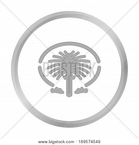 The Palm Jumeirah icon in monochrome style isolated on white background. Arab Emirates symbol vector illustration.