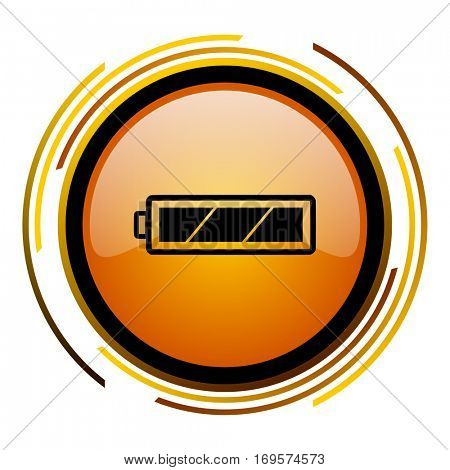 Battery vector icon. Modern design round orange button isolated on white background for web and applications in eps10.