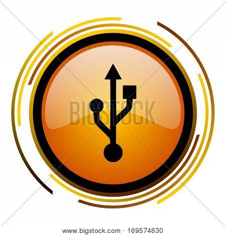 USB vector icon. Modern design round orange button isolated on white background for web and applications in eps10.