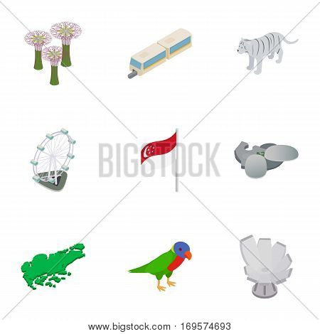 Singapore cultural icons set. Isometric 3d illustration of 9 Singapore cultural vector icons for web
