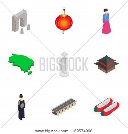 South Korea symbols icons set. Isometric 3d illustration of 9 South Korea symbols vector icons for web