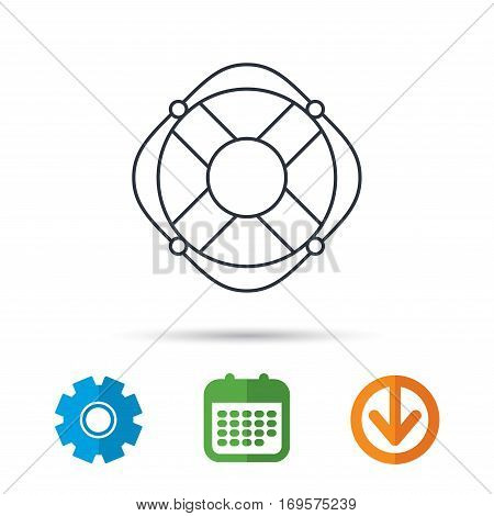 Lifebuoy with rope icon. Lifebelt sos sign. Lifesaver help equipment symbol. Calendar, cogwheel and download arrow signs. Colored flat web icons. Vector