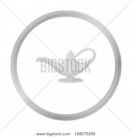 Oil lamp icon in monochrome style isolated on white background. Arab Emirates symbol vector illustration.