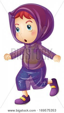Little girl wearing purple raincoat illustration
